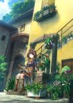 book boots bread brown_hair bsan building flower food hair_flower hair_ornament highres original plant potted_plant sash scarf scenery short_hair sitting solo stairs tree