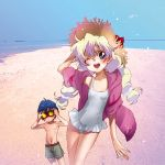 blush casual_one-piece_swimsuit frilled_swimsuit frills goggles hand_on_hat hat highres hoodie jacket multicolored_hair nia_teppelin ocean one-piece_swimsuit simon sleeves_rolled_up smile straw_hat swim_trunks swimsuit tengen_toppa_gurren_lagann twintails wink yukimitsuki