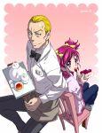 bunbee cake food futari_wa_precure maeashi pink_eyes pink_hair precure tea twintails two_side_up yes!_precure_5 yumehara_nozomi