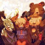 bad_id bear blonde_hair blush cat english flandre_scarlet gjf koala lion no_hat no_headwear sad salute stuffed_animal stuffed_toy touhou zebra