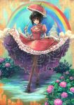 blue_eyes bob_cut choker cloud clouds crossed_legs_(standing) demo_(takakong) dress flower frills gloves gown highres hydrangea mary_janes original pantyhose petticoat plant rain rainbow shoes short_hair sky snail solo umbrella