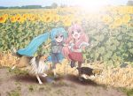 aqua_eyes aqua_hair child dog hatsune_miku hirabaru_kenji legs long_hair megurine_luka multiple_girls pantyhose pink_hair running school_uniform serafuku skirt smile tears twintails vocaloid
