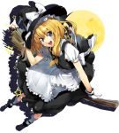 apron blonde_hair blue_eyes bobby_socks broom full_moon gloves hand_on_hat hat kirisame_marisa long_hair moon open_mouth runa sidesaddle smile socks solo touhou waist_apron white_gloves witch_hat