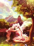 alternate_color bad_id cloud clouds dress hatsune_miku long_hair ouri rainbow red_eyes sitting sky solo tree twintails very_long_hair vocaloid white_hair wings