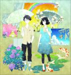 akashi bad_id black_hair bob_cut clothesline colorful couple curtains dress fish flower frog glasses hydrangea koi mole ozu_(yojouhan) power_lines rainbow short_hair standing suhoi umbrella watashi yojouhan_shinwa_taikei