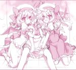 bat_wings blood flandre_scarlet hat highres izayoi_sakuya lucie maid maid_headdress monochrome multiple_girls nosebleed pink pink_eyes ponytail red_eyes remilia_scarlet short_hair side_ponytail smile touhou wings