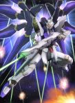 beam_rifle energy_beam explosion gun gundam gundam_seed gundam_seed_destiny mecha pose raybar solo space strike_freedom_gundam weapon