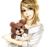 bear blonde_hair blue_eyes hug sadakage simple_background source_request