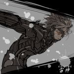 action armor barcode blonde_hair expressionless eyepatch glowing_eyes male metal_gear_solid metal_gear_solid:_rising raiden red_eyes rokka_(hexapetal) solo spikes