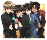 black_hair blue_eyes brown_hair detective_conan food hattori_heiji hattori_heji ice_cream kudou_shin'ichi kudou_shinichi kuroba_kaitou male multiple_boys saguru_hakuba school_uniform toujou_sakana
