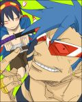 2boys blue_hair blush earrings goggles jewelry kamina kamina_shades ring simon smirk sword tattoo tengen_toppa_gurren_lagann tengen_toppa_gurren_lagann:_parallel_works weapon
