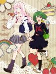 artist_request blonde_hair blue_eyes blush breasts cake earrings food gen_(enji) green_hair holding_hands hot_dog ice_cream jewelry long_hair loose_socks macross macross_frontier multiple_girls pastry rainbow ranka_lee red_eyes school_uniform sheryl_nome short_hair single_earring smile socks source_request