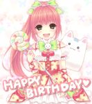 bad_id bangs blush blush_stickers bow bunny butterfly candy cherry earrings english flower food food_as_clothes food_themed_clothes fruit green_eyes hair_bow hair_flower hair_ornament hana happy happy_birthday jewelry lollipop long_hair mmmxx musical_note o_o pangya paw_print pink_hair polka_dot ponytail ring swirl_lollipop treble_clef