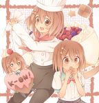 brown_eyes brown_hair cake checkerboard_cookie chef chef_hat cookie cream_puff food hat hirasawa_yui k-on! multiple_persona pantyhose pastry ponta_(aoi) school_uniform short_hair toque