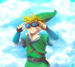 blonde_hair gloves goggles hat highres link nintendo sky skyward_sword smile solo the_legend_of_zelda