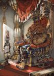 arm_guard arm_guards armor braid bunny butler chin_rest closed_eyes crown dragon fantasy food fruit furry greaves highres lion murayama murayama_ryouta muscle original pet rabbit servant sitting sleeping standing throne yellow_eyes