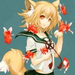 blonde_hair brown_eyes fish fox_ears fuwayu goldfish hands original school_uniform serafuku short_hair smile tail