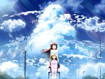 blonde_hair brown_hair closed_eyes cloud clouds highres kamio_haruko kamio_misuzu power_lines sky skyt2 smile wheelchair