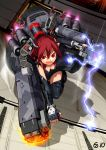 breasts cleavage elbow_gloves fingerless_gloves gloves gun highres mecha mecha_musume metal_gear metal_gear_solid metal_gear_solid_peace_walker military personification pupa_(mgs:peace_walker) red_eyes red_hair redhead solo thigh-highs thighhighs weapon