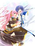 blue_eyes blue_hair haru_aki headphones highres kaito long_hair megurine_luka pink_hair scarf skirt smile thigh-highs thighhighs very_long_hair vocaloid zettai_ryouiki