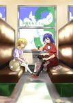 bococho eyes hat moriya_suwako pantyhose parody purple_hair pyonta saint_onii-san short_hair sleeping touhou train train_interior yasaka_kanako