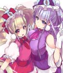 2girls aisaki_emiru bangs blonde_hair blunt_bangs bow bowtie closed_mouth cowboy_shot cure_amour cure_macherie dress gloves hair_bow hugtto!_precure long_hair looking_at_viewer magical_girl miya_ur multiple_girls pink_dress precure purple_bow purple_dress purple_hair red_bow red_eyes ruru_amour simple_background smile twintails violet_eyes white_background white_gloves