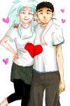 1girl blue_hair casual closed_eyes couple earrings heart hinalogic hug jewelry masaki_tenchi oekaki ryouko_(tenchi_muyou!) smile spiked_hair spiky_hair t-shirt tenchi_muyou!