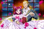 1girl bow bunbee choker couple dancing dress elbow_gloves flower frills futari_wa_pretty_cure gloves gown hair_ribbon height_difference maeashi pink_hair pink_rose precure purple_eyes ribbon rose short_twintails smile twintails two_side_up violet_eyes yes!_precure_5 yumehara_nozomi