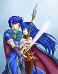 1girl armor blue_eyes blue_hair cape couple fire_emblem fire_emblem:_monshou_no_nazo fire_emblem_mystery_of_the_emblem long_hair marth polearm sheeda smile spear sword thigh-highs thighhighs weapon yuino_(fancy_party) yuinopartyyou127