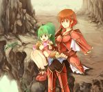bird boots bracelet bread cape chiki eating fingerless_gloves fire_emblem fire_emblem:_monshou_no_nazo fire_emblem_mystery_of_the_emblem food gloves green_eyes green_hair headband jewelry kariu long_hair minerva_(fire_emblem) open_mouth pointy_ears ponytail red_eyes red_hair redhead short_hair sitting smile