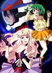 blonde_hair blue_eyes breasts brown_eyes cleavage dress earrings gen_(enji) green_hair hand_on_chest hand_on_own_chest helmet jewelry long_hair macross macross_frontier microphone navel open_mouth orange_dress pilot ranka_lee red_eyes saotome_alto sheryl_nome short_hair single_earring smile thigh-highs thighhighs