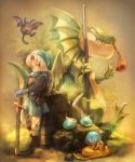 axe bad_id blonde_hair boots claws dragon dragon_quest dragon_quest_vi drakee drango eating fangs gloves hat hoimi_slime shield slime_(dragon_quest) sui_(petit_comet) sword terry weapon wings