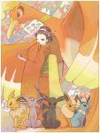 1girl bird espeon flareon geisha hair_ornament ho-oh ine_(sero) japanese_clothes jolteon kimono_girl_(pokemon) makeup poke_ball pokemon pokemon_(creature) pokemon_(game) tegaki umbreon vaporeon wink