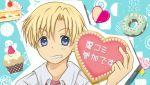 blonde_hair blue_eyes cake candy clannad cupcake doughnut food grin heart lollipop male pastry sakurai_arino school_uniform shaped_lollipop short_hair smile solo sunohara_youhei