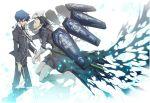 black_hair blue_eyes blue_hair evoker gun hair_slicked_back male mochizuki_ryouji persona persona_3 ron_(lovechro) school_uniform thanatos weapon