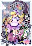 absurdres argyle argyle_legwear blonde_hair bow card cards cat cup dress falling_card floating_card gun hair_bow heart highres kneehighs long_hair mary_janes moonyan mushroom original playing_card playing_cards pocket_watch shoes socks solo teacup watch weapon wristband yellow_eyes