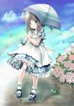 brown_hair cloud clouds flower frills frog green_eyes highres holding hydrangea legs lizrin maid mary_janes open_mouth original rainbow ripple ripples shoes sky socks solo standing umbrella water