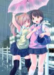 highres multiple_girls original rain school_uniform skirt sota sweater_vest thigh-highs thighhighs umbrella zettai_ryouiki