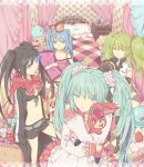 bed black_rock_shooter black_rock_shooter_(character) bow bunny cake candy clock dr. dress duplicate food fruit gurumo hatsune_miku hatsune_miku_(meltdown/nitamagomix) hatsune_miku_(roshin_yuukai/nitamagomix) holding lollipop lots_of_laugh_(vocaloid) macaron mouth_hold pastry pillow rabbit romeo_and_cinderella_(vocaloid) romeo_to_cinderella_(vocaloid) roshin_yuukai_(vocaloid) scrunchie strawberry stuffed_animal stuffed_toy swirl_lollipop twintails vocaloid