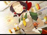 alternate_costume apron bow brown_hair contemporary food hair_bow hakurei_reimu hamburger short_hair solo touhou yashima_yuuta