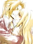 1girl bad_id blonde_hair blush couple edward_elric fullmetal_alchemist grin happy hug long_hair smile tears winry_rockbell yoshiyasu