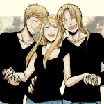 blonde_hair closed_eyes edward_elric fullmetal_alchemist fuyufuchi happy holding_hands smile winry_rockbell