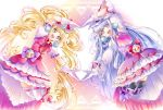 2girls :d aisaki_emiru blonde_hair bow cure_amour cure_macherie dress full_body gloves hair_bow highres hugtto!_precure jumping layered_dress long_hair looking_at_viewer magical_girl multiple_girls open_mouth pink_dress pom_pom_(clothes) pose precure purple_bow purple_dress purple_hair red_bow ruru_amour smile symmetry thigh-highs twintails violet_eyes white_gloves yellow_eyes yuutarou_(fukiiincho)