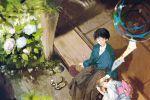 1girl blurry couple depth_of_field fan flower foreshortening from_above hydrangea ikari_shinji japanese_clothes kimono lap_pillow neon_genesis_evangelion niko_(silent.whitesnow) paper_fan sandals souryuu_asuka_langley uchiwa veranda wind_chime