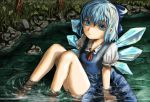 bad_id barefoot blouse blue_eyes blue_hair bow cirno dress face looking_up nature ribbon river shaun_(fallenicons) short_hair sitting solo submerged sweatdrop touhou water wet wet_clothes wings