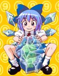 blue_eyes blue_hair bow cirno frog frozen hair_bow short_hair solo touhou umiwata wings ⑨