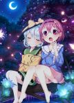 2girls closed_eyes eyeball flower hairband hat hat_ribbon heart heart_of_string komeiji_koishi komeiji_satori light_smile moon multiple_girls open_mouth panties purple_hair ribbon shirakawa_mayo short_hair siblings silver_hair sisters skirt star subterranean_animism third_eye touhou tree underwear violet_eyes