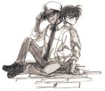 adjusting_hat bad_id brown detective_conan edogawa_conan glasses hat hattori_heiji male mo_ko monochrome multiple_boys simple_background sketch smile white_background