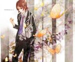 bag belt blazer brown_eyes brown_hair butterfly hand_in_pocket male necktie open_collar persona persona_2 plant school_bag school_uniform single_vertical_stripe solo suou_tatsuya tottome unbuttoned