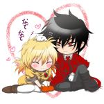 alucard_(hellsing) ascot badge black_hair blonde_hair blush chibi closed_eyes gloves happy heart hellsing high_boots kurobe_sclock messy_hair petting red_eyes seras_victoria smile uniform white_gloves
